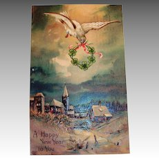 A Happy New Year To You Postcard (Dove & Wreath)