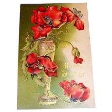 Hearty Greetings Poppy Flower & Vase Design Postcard-1908