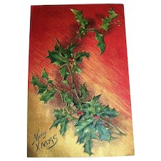 Merry Xmas Embossed Postcard (Holly Branch)