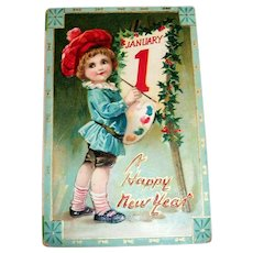 Tuck: January 1-Happy New Year Embossed Postcard-1913