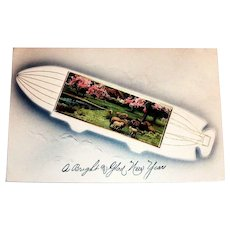 A Bright And Glad New Year Postcard (Dirigible Design)