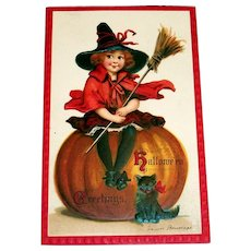 Vintage Halloween Greetings Postcard (Girl Witch Sitting On Pumpkin)-Brundage