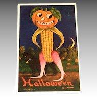 Halloween Pumpkin Head & Corn Body Man Postcard - Bernhardt Wall