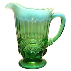 Emerald Green Opalescent Eye Winker Glass Pitcher