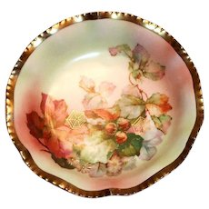 Prussia Hand Painted Floral Design & Gold Tone Trim Berry Bowl