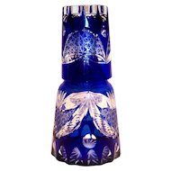 Bohemian Clear Etched Design On A Cobalt Blue Tumble Up