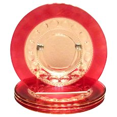 King Crown Cranberry Glass Salad Plate