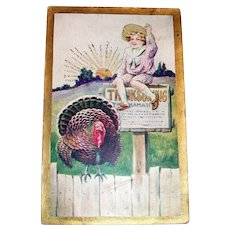 Thanksgiving Proclamation Postcard (Boy Sitting On Sign)