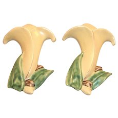 McCoy Yellow Lily & Green Leaves Pottery Wall Pocket