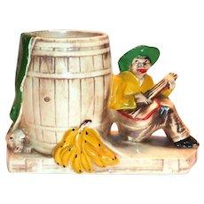 McCoy Calypso Banjo Player & Barrel Pottery Planter - 1959