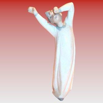 Lladro Sleepy Boy In His Nightgown Stretching Figurine