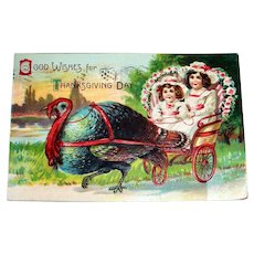 Good Wishes For Thanksgiving Day Postcard (Turkey Pulling Cart)