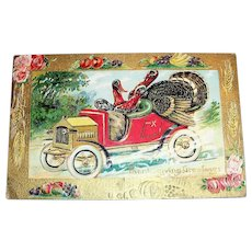 Thanksgiving Greetings Postcard (Turkeys in a Jalopy)