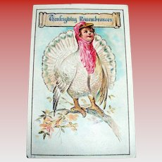 Thanksgiving Remembrances Postcard - Anthropomorphic Turkey Scene