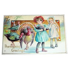 Thanksgiving Greetings Postcard (Girl Holding Baby Turkey)
