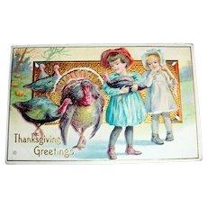 Thanksgiving Greetings Postcard (Girl Holding Baby Turkey)