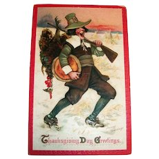 Frances Brundage: Thanksgiving Day Greetings Postcard (Pilgrim Caught His Turkey)