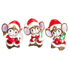 Homco 3 Pc Christmas Mice Porcelain Figurines Set