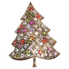 Multicolored Pastel Colored Rhinestones Christmas Tree Pin