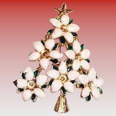 Glitter White Poinsettia On Green Enamel Leaves Christmas Tree Pin