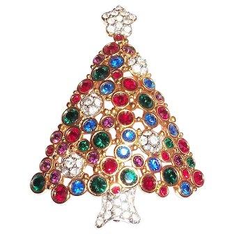 Swarovski Rhinestone Christmas Tree Pin