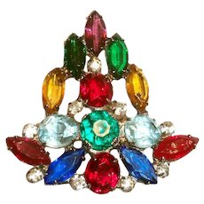 Lovely Multicolored Marquis, & Round Christmas Tree Pin