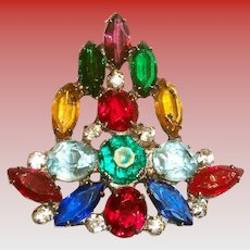Lovely Multicolored Marquis & Round Rhinestones Christmas Tree Pin
