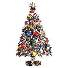 ART Multicolored Rhinestones Christmas Tree Pin - Marked
