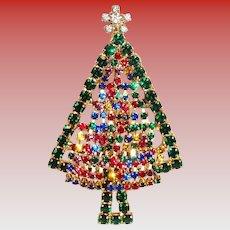 Lovely Dangly Tiny Rhinestone Christmas Tree Pin