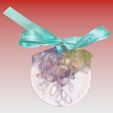 Daum 1998 Christmas Crystal Mistletoe Ornament