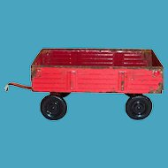 Small Red Metal Toy Wagon With White Wheels : The Antique