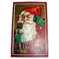 Hello, Merry Christmas Postcard (Santa Claus on the Phone)