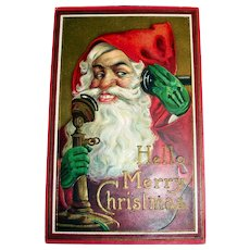 Hello, Merry Christmas Postcard (Santa Claus on the Phone)