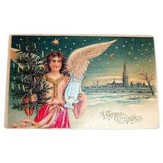 A Merry Christmas Silk Postcard (Angel Holding Harp)