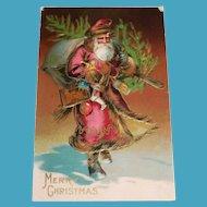 Merry Christmas Postcard (Santa In Dark Pink Robe With Tree)