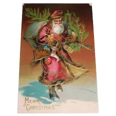 Merry Christmas Postcard (Santa In Dark Pink Robe With Tree)
