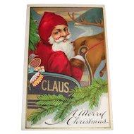 A Merry Christmas Postcard (Santa In Claus Sleigh)