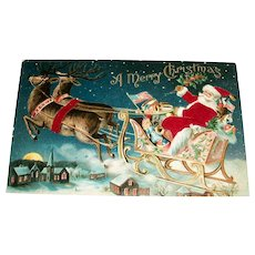 A Merry Christmas Silk Postcard (Santa In His Sleigh With Reindeer)