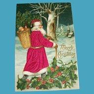 Merry Christmas Silk Postcard (Santa Walking Thru The Woods)