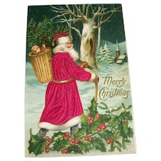 Merry Christmas Silk Postcard (Santa Walking Thru The Woods)