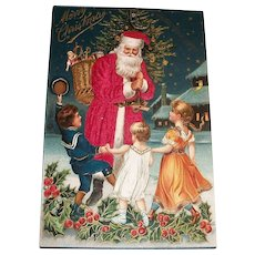 Merry Christmas Silk Santa Claus With Kids Postcard