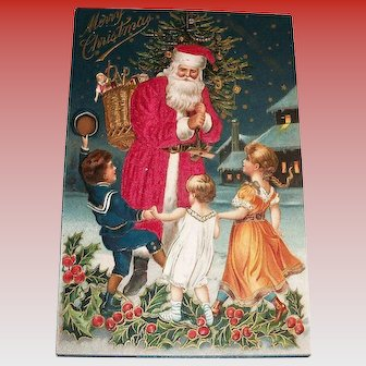 Merry Christmas Silk Santa Claus With Kids Postcard