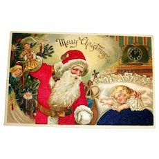 Merry Christmas Silk Postcard (Santa Trimming Tree While Girl Sleeps)