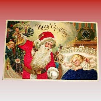 Merry Christmas Silk Postcard (Santa Trimming Tree While Girl Sleeps)