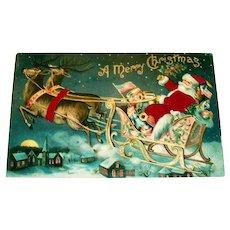 Silk A Merry Christmas Postcard (Santa In His Sleigh With Reindeer)