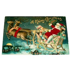 Silk A Merry Christmas Postcard (Santa In His Sleigh With Reindeer)