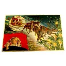 Merry Christmas Postcard - Silk (Santa & Reindeer with Girl Sleeping)