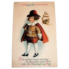 A Happy Thanksgiving Postcard (Little Pilgrim Boy)