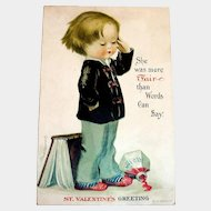 St. Valentine's Greeting Postcard (Boy Dreaming) Signed Clapsaddle
