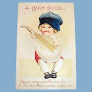 A Happy Easter Postcard (Little Girl/Boy Playing a Egg Guitar)